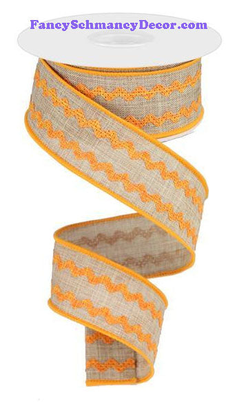 "1.5"" X 10 yd Light Beige Orange Ricrac Ribbon"