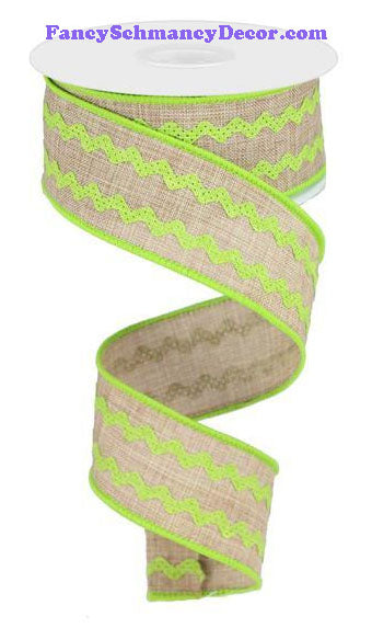 "1.5"" X 10 yd Light Beige Lime Ricrac Ribbon"