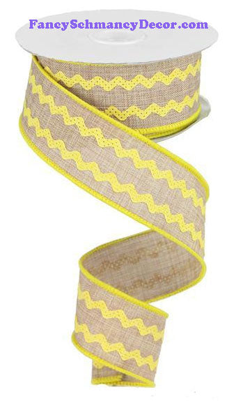 "1.5"" X 10 yd Light Beige Dark Yellow Ricrac Ribbon"