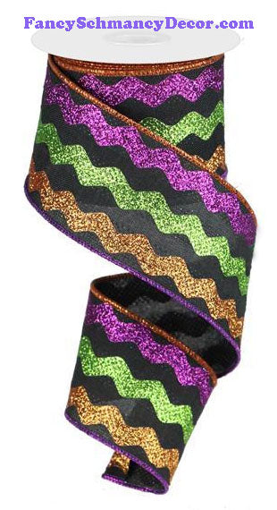 "2.5"" X 10 yd Glitter Ricrac Black Copper Lime Purple Wired Ribbon"