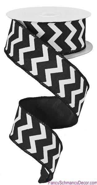 "1.5"" X 100ft Small Chevron/Royal Wired Black/White Ribbon"