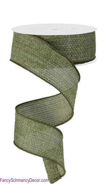 "1.5"" X 50 yd Cross Royal Burlap Wired Fern Green Ribbon"