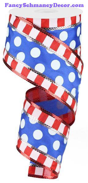"2.5"" X 10 yd 3 In 1 Red White Blue Polka Dot W/Stripes Wired Ribbon"