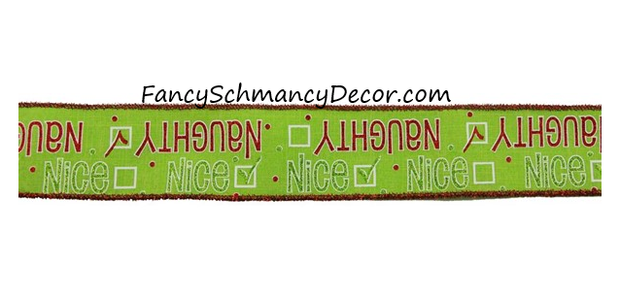 "2.5"" X 10YD Naughty or Nice on Royal Wired Ribbon"