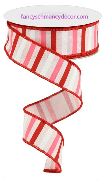 "1.5""X10yd Horizontal Stripe On Royal Light Pink/Red/Pink/White Wired Ribbon"