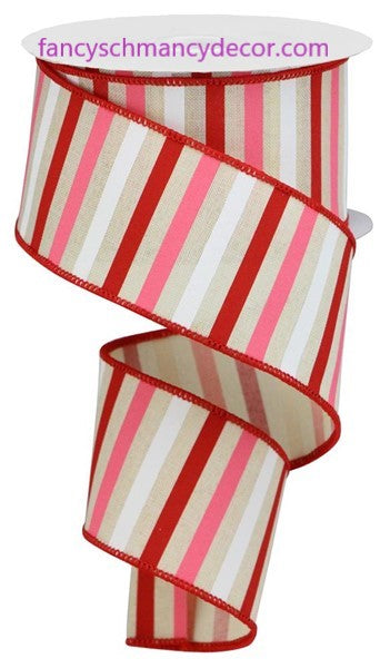 "2.5""X10yd Horizontal Stripe On Royal Cream/Red/Pink/White Wired Ribbon"