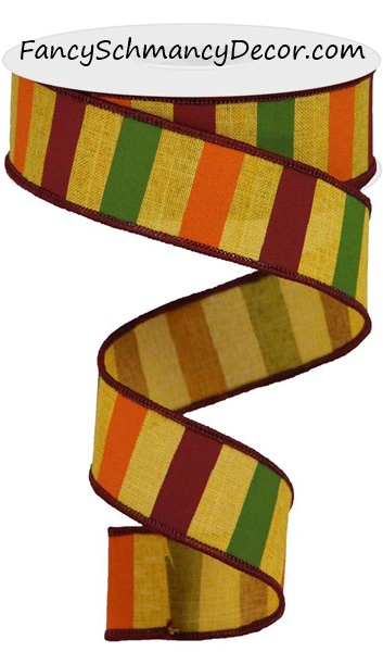 "1.5"" X 10YD Horizontal Stripe on Royal Wired Ribbon"