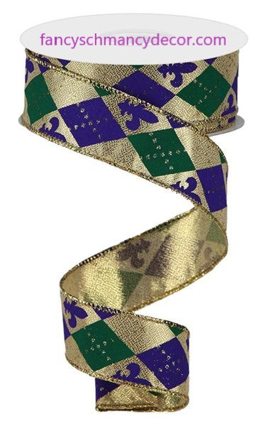 "1.5""X10yd Argyle Fleur De Lis Gold/Purple/Emerald Wired Ribbon"