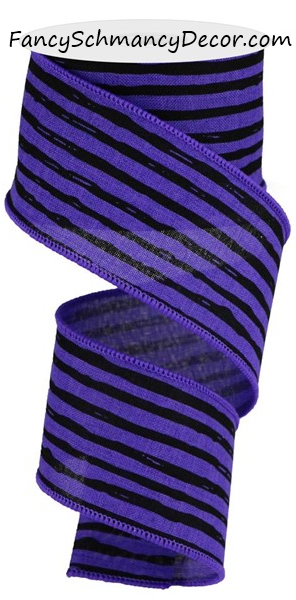 "2.5""X10 yd Irregular Stripes on Royal Wired Ribbon"