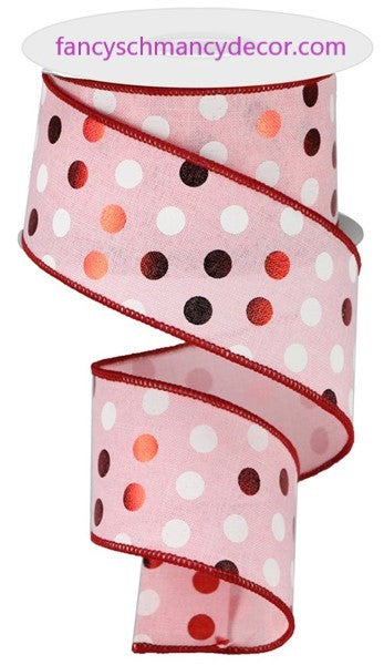 "2.5""X10yd Metallic Dots On Royal Pale Pink/Red/White Wired Ribbon"