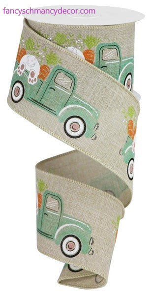 "2.5""X10yd Truck with Bunny & Carrots On Royal Ribbon"