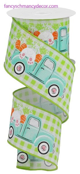 "2.5""X10yd Truck with Bunny & Carrots On Check Ribbon"