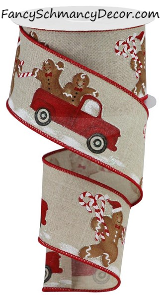 "2.5""X10 Yd Gingerbread W/Truck on Royal"