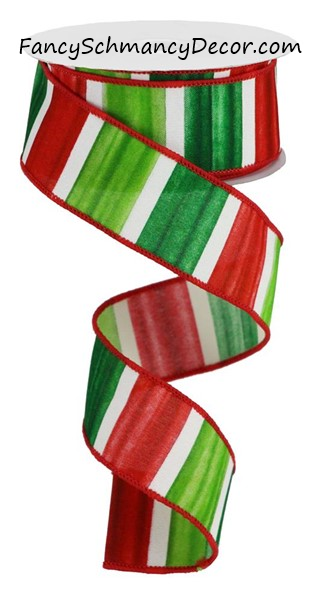 "1.5"" X 10YD Watercolor Stripes/PG Fabric Wired Ribbon"