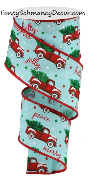 "2.5"" X 10Yd Christmas Trucks on Royal Wired Ribbon"