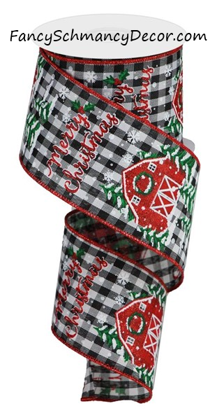 "2.5"" X 10Yd Christmas Barn on Check Wired Ribbon"