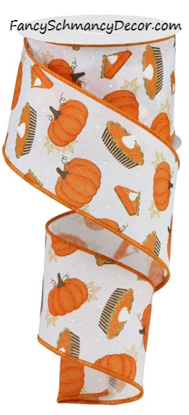 "2.5"" X 10YD Pumpkin Pie on Royal Wired Ribbon"