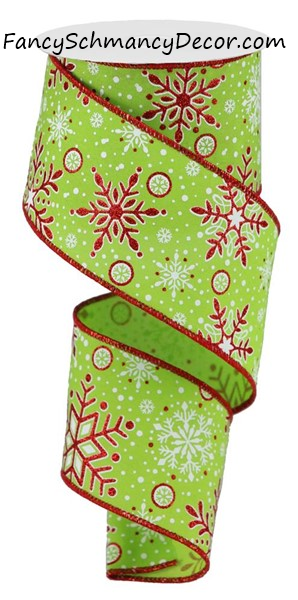 "2.5"" X 10YD Snowflakes Wired Ribbon"