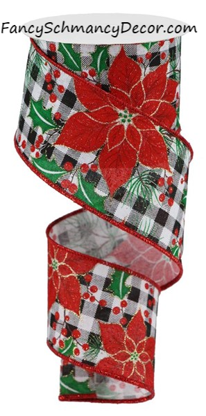 "2.5"" X 10 Poinsettia/Holly on Check  Wired Ribbon"