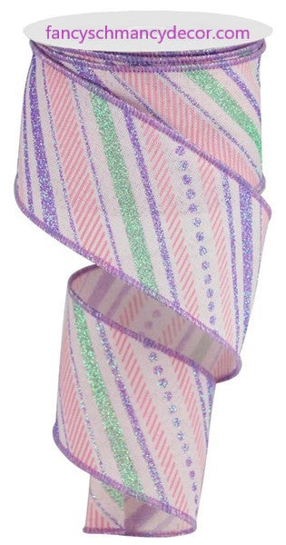 "2.5""X10yd Multi Diagonal Stripes/Royal Pink/Light Green/Lavender/Light Pink Wired Ribbon"