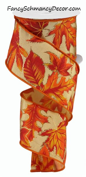 "2.5""X10yd Autumn Leaves/Glitter On Satin"