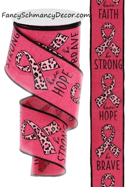 "2.5""X10 Yd Breast Cancer/Leopard Print"