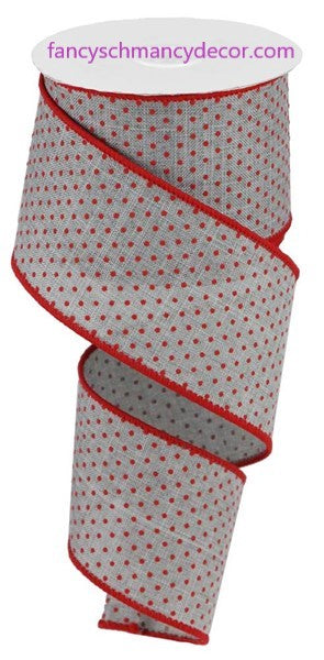 "2.5""X10yd Swiss Dots On Burlap Light Gray/Red Wired Ribbon"