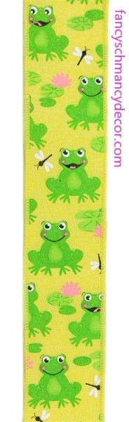 "1.5""X10yd Frogs On Royal Yellow/Green/Pink/White Wired Ribbon"
