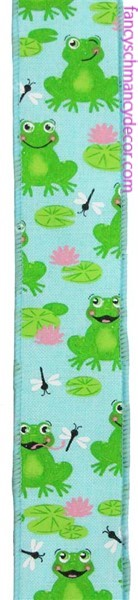 "1.5""X10yd Frogs On Royal Ice Blue/Green/Pink/White Wired Ribbon"