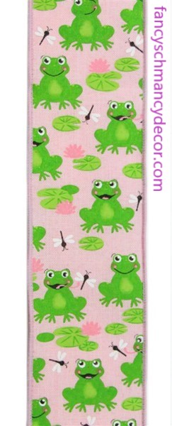 "2.5""X10yd Frogs On Royal Pale Pink/Green/Pink/White Wired Ribbon"