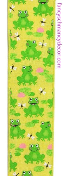 "2.5""X10yd Frogs On Royal Yellow/Green/Pink/White Wired Ribbon"