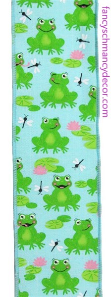 "2.5""X10yd Frogs On Royal Ice Blue/Green/Pink/White Wired Ribbon"