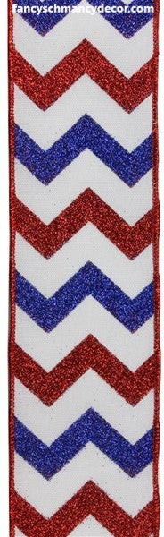 "2.5""X10yd Glitter Chevron On Faux Royal Red/White/Blue Wired Ribbon"
