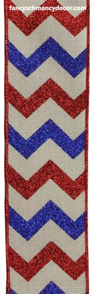 "2.5""X10yd Glitter Chevron On Royal Red/White/Blue Wired Ribbon"