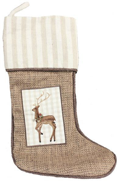 Christmas Reindeer - Embroidered Stocking - FancySchmancyDecor