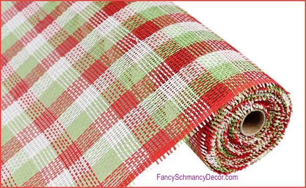 "21"" x 10 yards Woven Check Paper Mesh Red White Lime Green"