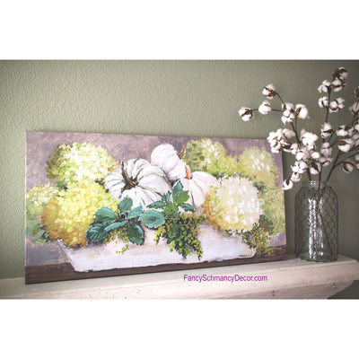 Gallery Trough of Pumpkins & Hydrangeas Canvas by The Round Top Collection RTF18115