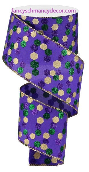 "2.5""X10yd Glitter Hexagon Dot Mardi Gras Wired Ribbon"