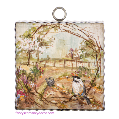 Mini Bird Wreath Print by The Round Top Collection