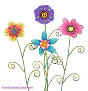 Whimsical Flowers Small Assorted Set 4 Stake by The Round Top Collection S6048 - FancySchmancyDecor - 2