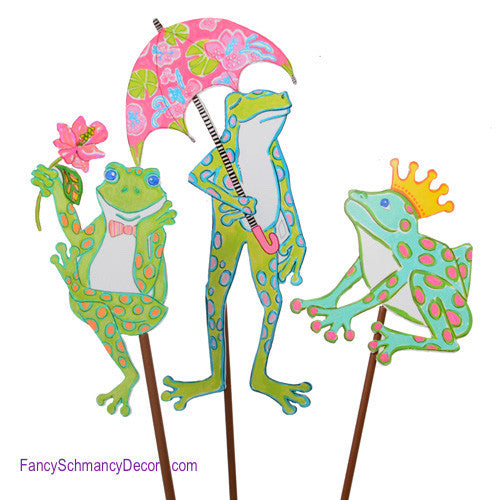 Happy Frog Trio Stakes by The Round Top Collection S8010 - FancySchmancyDecor