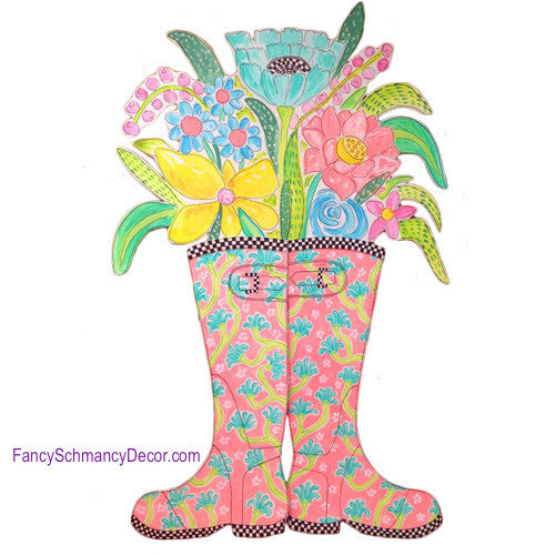 Happy Rubber Boots Coral with Flowers Stake by The Round Top Collection S8015 - FancySchmancyDecor