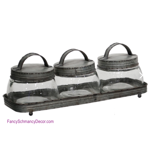Lidded Jars with Tray by Raz Imports