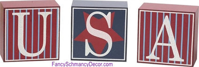 USA Decorative Blocks Set of 3 - FancySchmancyDecor