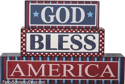 """God Bless America"" Decorative Blocks - FancySchmancyDecor"