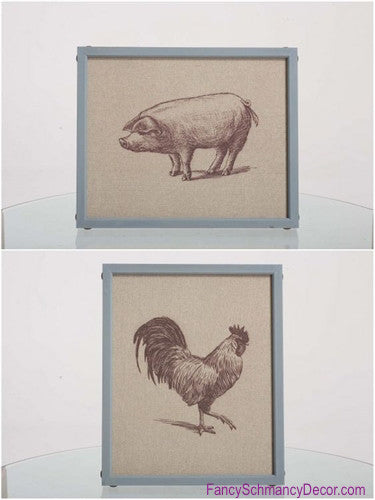 Canvas Rooster or Pig Print
