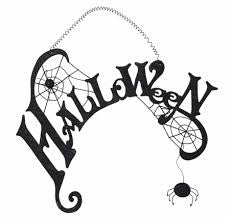 Halloween Metal Sign with Spider and Spider Webs with Hanger - FancySchmancyDecor
