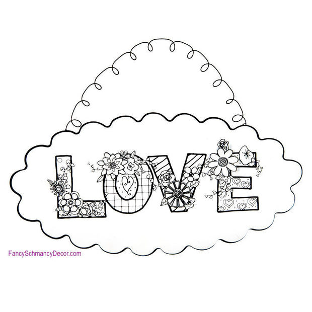 "Color My Valentine ""LOVE"" Hanger by The Round Top Collection V17015"
