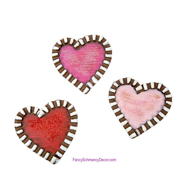 Galvanized Rust Heart Magnets - Asst. 3 by The Round Top Collection V18006