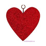 Red Glitter Heart Grommet Charm by The Round Top Collection V19069